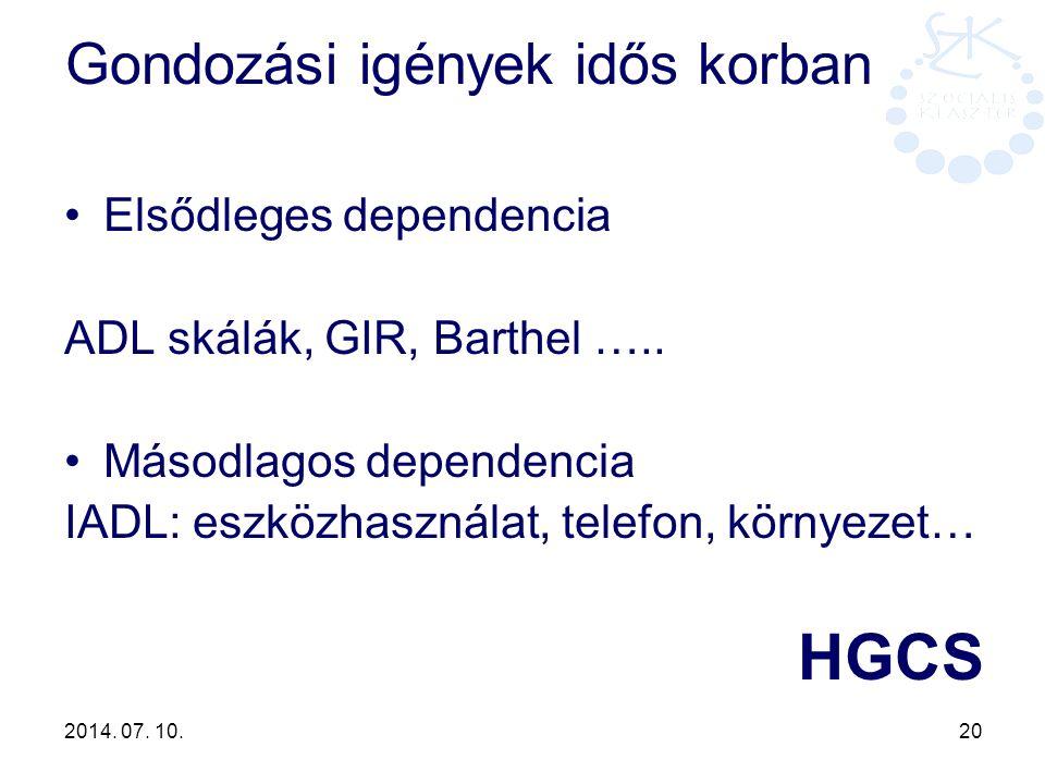 2014. 07. 10. 20 Gondozási igények idős korban Elsődleges dependencia ADL skálák, GIR, Barthel ….. Másodlagos dependencia IADL: eszközhasználat, telef
