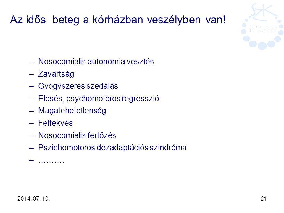 2014. 07. 10. 21 Az idős beteg a kórházban veszélyben van! –Nosocomialis autonomia vesztés –Zavartság –Gyógyszeres szedálás –Elesés, psychomotoros reg
