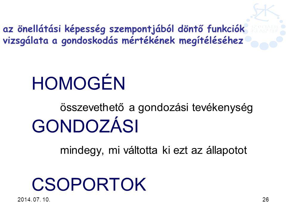 2014. 07. 10. 26 HOMOGÉN összevethető a gondozási tevékenység GONDOZÁSI mindegy, mi váltotta ki ezt az állapotot CSOPORTOK az önellátási képesség szem