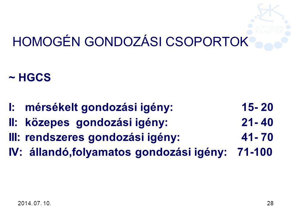 2014. 07. 10. 28 HOMOGÉN GONDOZÁSI CSOPORTOK ~ HGCS I: mérsékelt gondozási igény: 15- 20 II: közepes gondozási igény: 21- 40 III: rendszeres gondozási