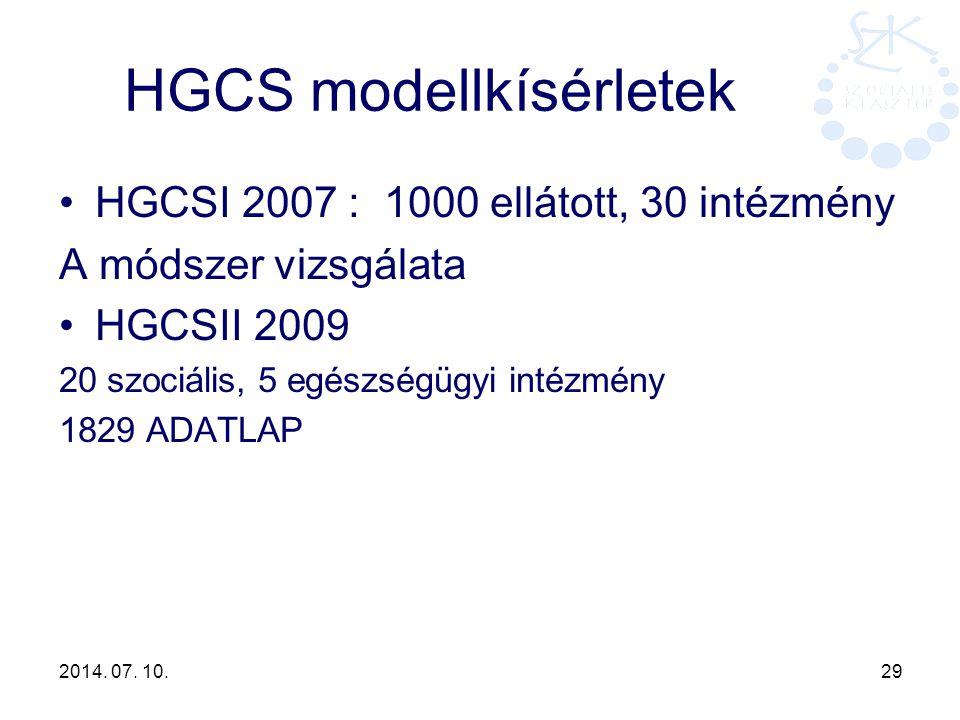 2014. 07. 10. 29 HGCS modellkísérletek HGCSI 2007 : 1000 ellátott, 30 intézmény A módszer vizsgálata HGCSII 2009 20 szociális, 5 egészségügyi intézmén