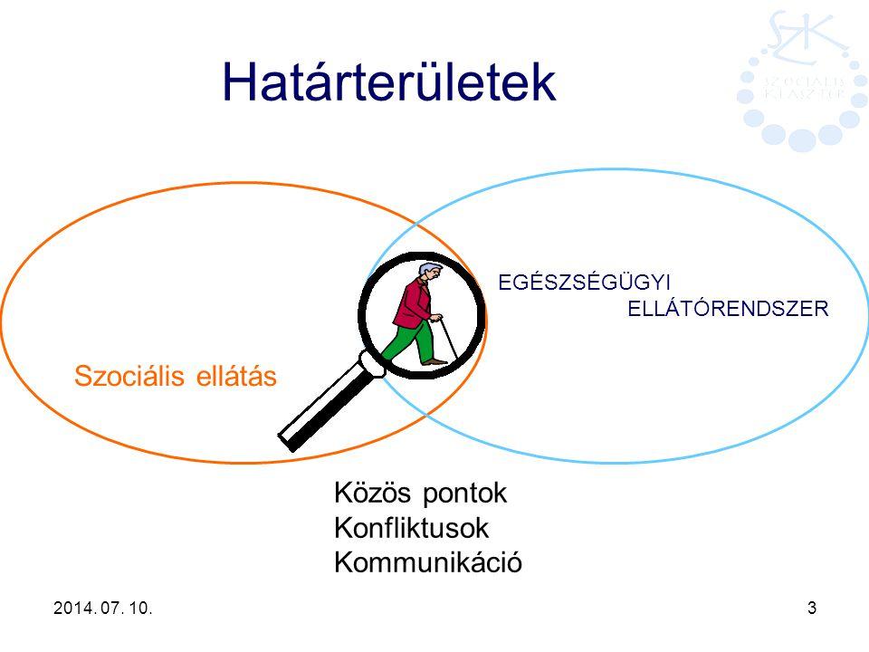 2014. 07. 10. 3 Határterületek Szociális ellátás EGÉSZSÉGÜGYI ELLÁTÓRENDSZER Közös pontok Konfliktusok Kommunikáció