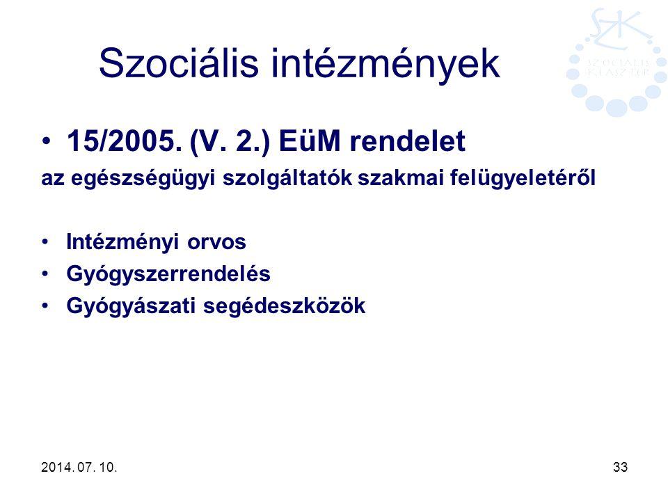2014. 07. 10. 33 Szociális intézmények 15/2005. (V. 2.) EüM rendelet az egészségügyi szolgáltatók szakmai felügyeletéről Intézményi orvos Gyógyszerren