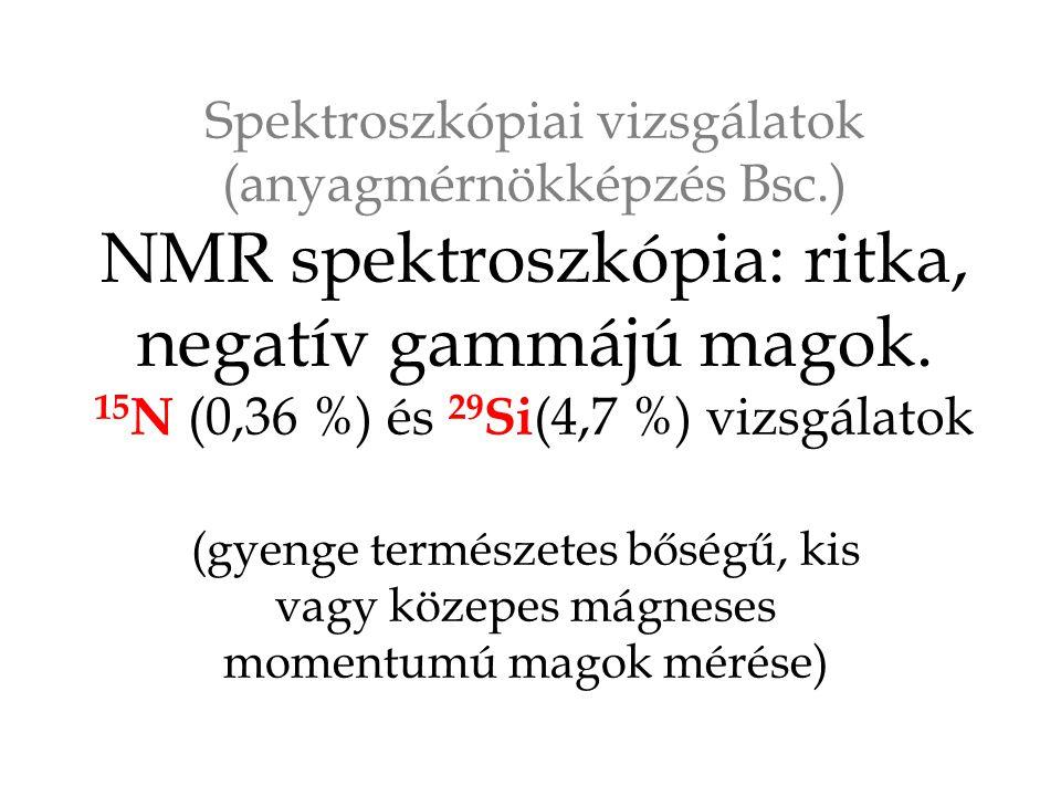 Spektroszkópiai vizsgálatok (anyagmérnökképzés Bsc.) NMR spektroszkópia: ritka, negatív gammájú magok.