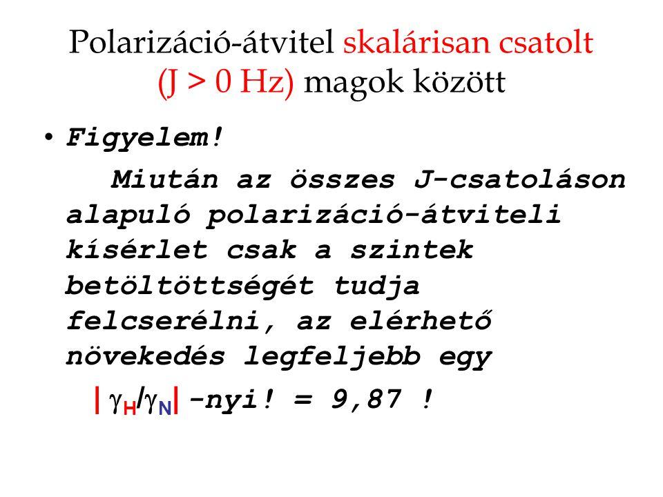 Polarizáció-átvitel skalárisan csatolt (J > 0 Hz) magok között Figyelem.