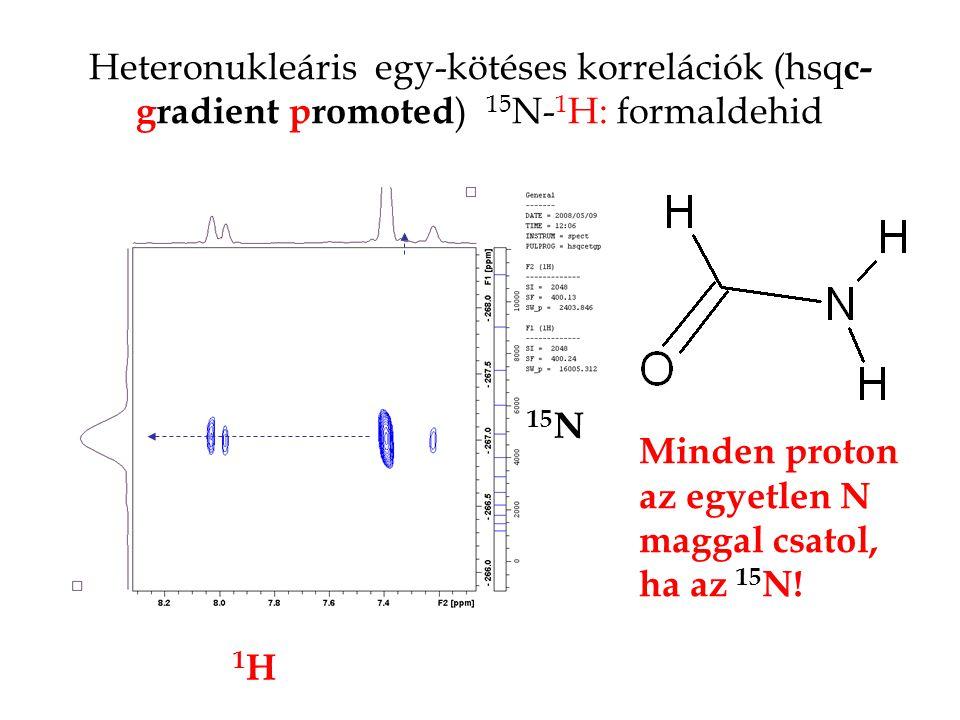 Heteronukleáris egy-kötéses korrelációk (hsq c- gradient promoted ) 15 N- 1 H: formaldehid 15 N 1H1H Minden proton az egyetlen N maggal csatol, ha az 15 N!