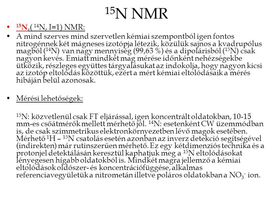 15 N NMR 15 N: figyelemmel kell lenni arra, hogy az elérhető NOE növekedés (valójában egy darabig csökkenés) bizonyos mértékű (részleges) dipól- dipól hozzájárulás esetén a jel törlődéséhez is vezethet, emiatt célszerű vagy ún.