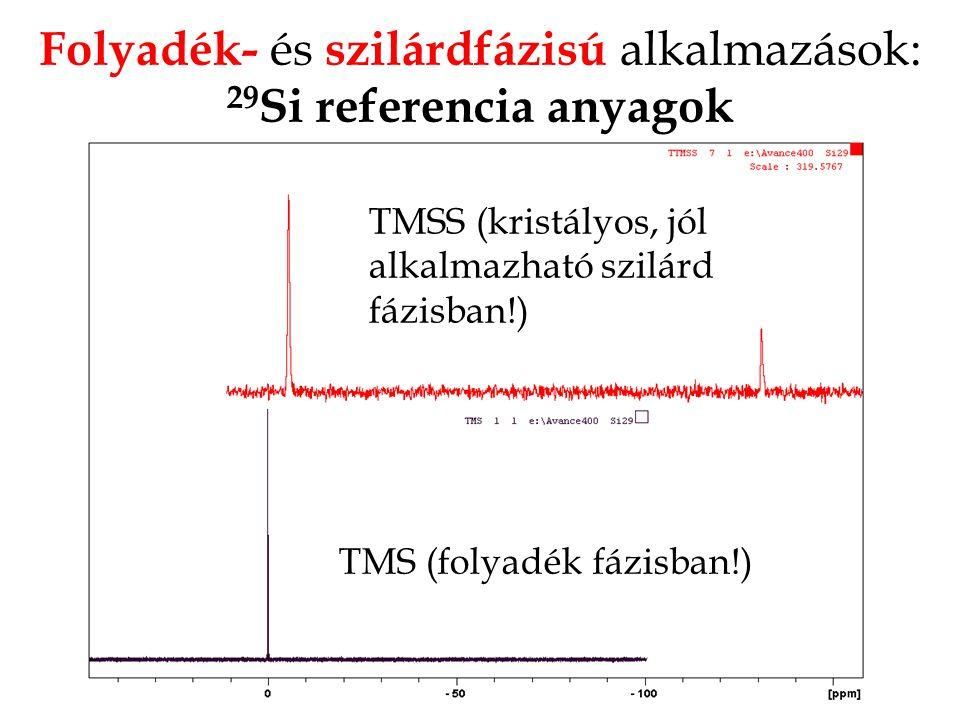 Folyadék- és szilárdfázisú alkalmazások: 29 Si referencia anyagok TMS (folyadék fázisban!) TMSS (kristályos, jól alkalmazható szilárd fázisban!)