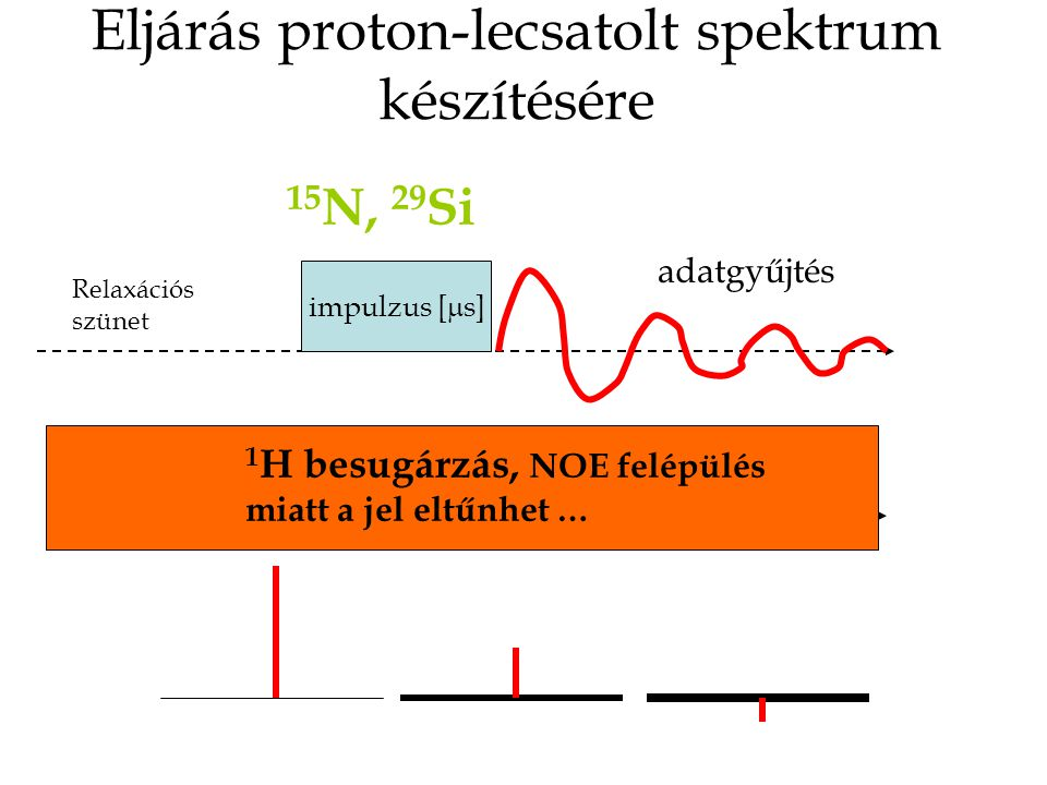 Eljárás proton-csatolt spektrum készítésére (normál kapuzott lecsatolás) impulzus [  s] 1 H besugárzás, NOE felépülés adatgyűjtés 15 N, 29 Si Relaxációs szünet