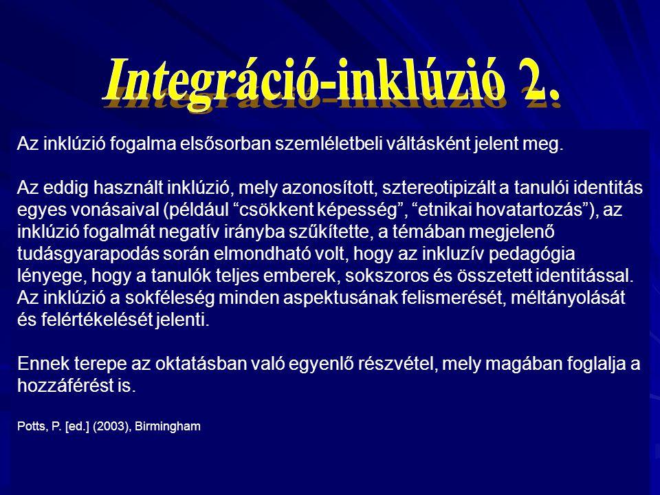 Az integráció szintjében bekövetkező minőségi különbségek a fogadás (integráció) és a befogadás (inklúzió) kifejezésekkel értelmezhetőek. A fogadó isk
