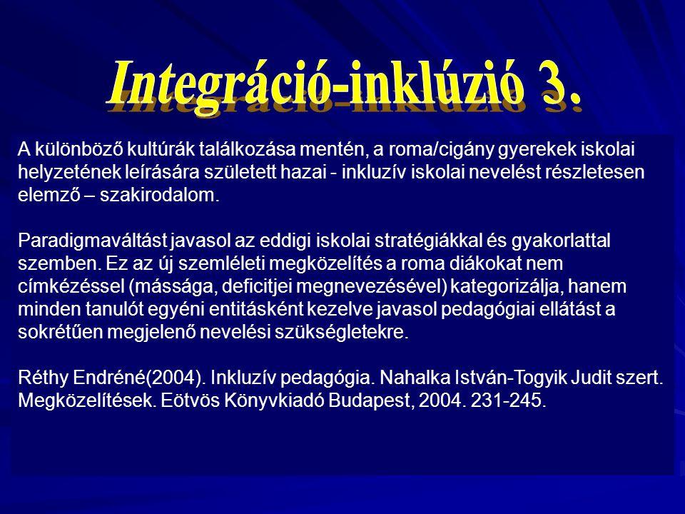 Az inklúzió fogalma elsősorban szemléletbeli váltásként jelent meg. Az eddig használt inklúzió, mely azonosított, sztereotipizált a tanulói identitás