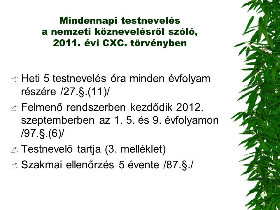 Mindennapi testnevelés a nemzeti köznevelésről szóló, 2011. évi CXC. törvényben  Heti 5 testnevelés óra minden évfolyam részére /27.§.(11)/  Felmenő