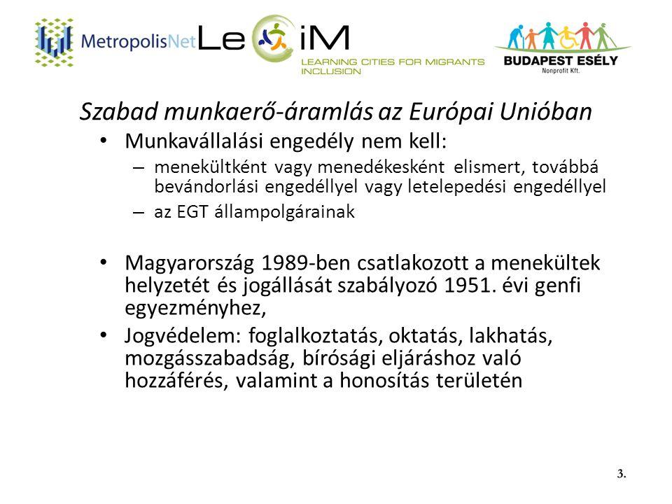 Szabad munkaerő-áramlás az Európai Unióban Munkavállalási engedély nem kell: – menekültként vagy menedékesként elismert, továbbá bevándorlási engedéllyel vagy letelepedési engedéllyel – az EGT állampolgárainak Magyarország 1989-ben csatlakozott a menekültek helyzetét és jogállását szabályozó 1951.