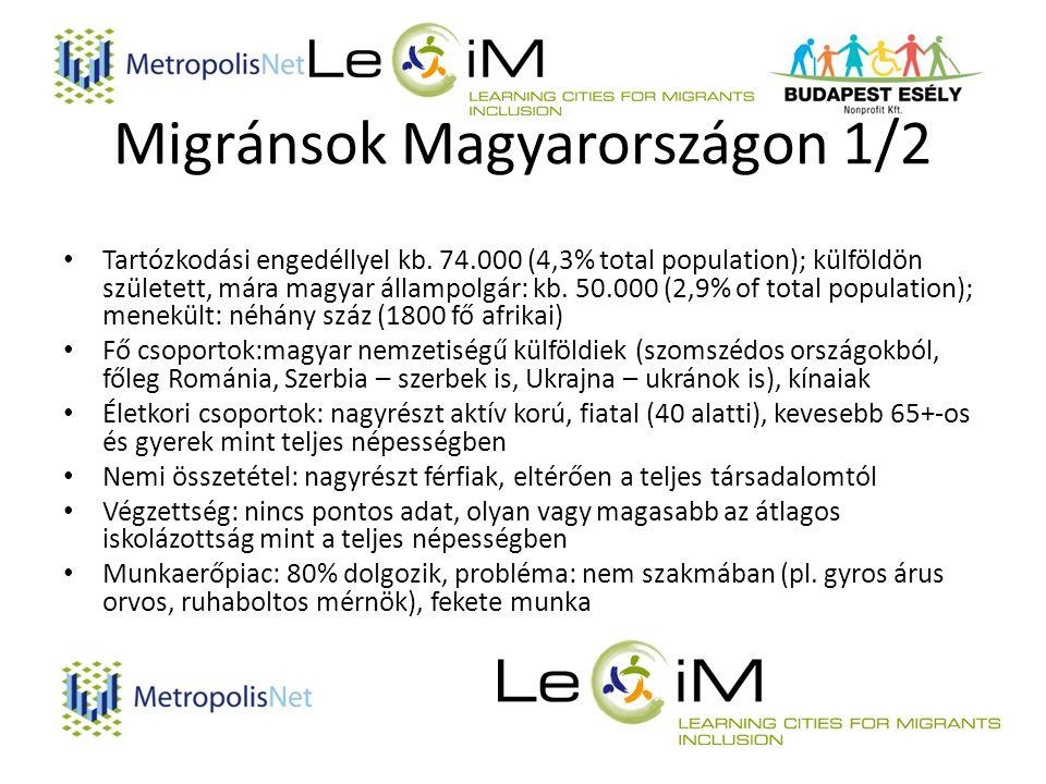 Migránsok Magyarországon 1/2 Tartózkodási engedéllyel kb.