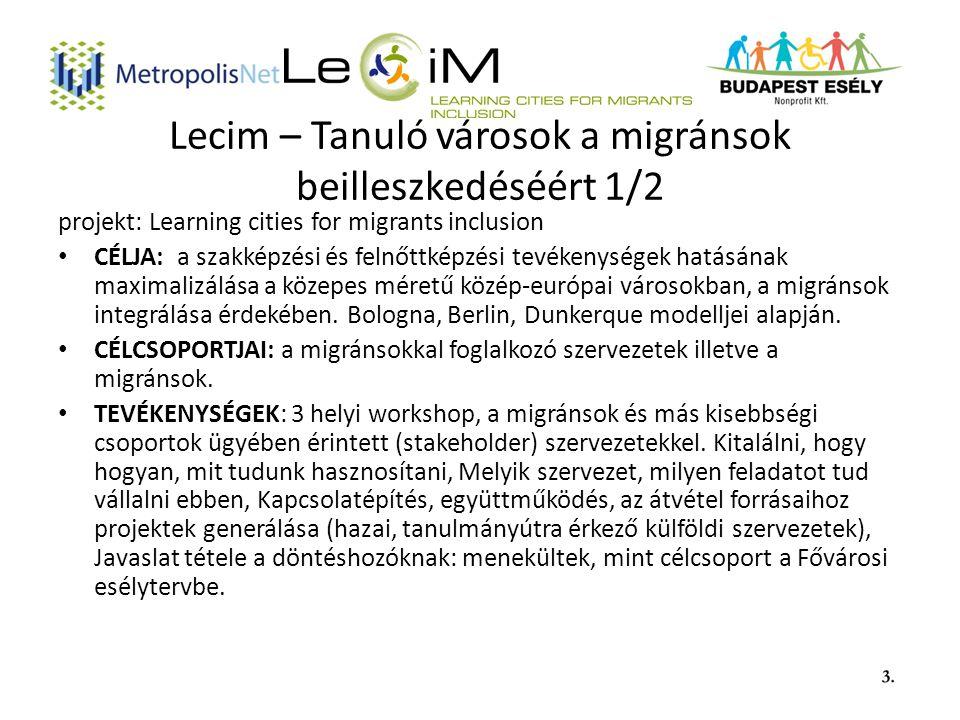 Lecim – Tanuló városok a migránsok beilleszkedéséért 1/2 projekt: Learning cities for migrants inclusion CÉLJA: a szakképzési és felnőttképzési tevékenységek hatásának maximalizálása a közepes méretű közép-európai városokban, a migránsok integrálása érdekében.