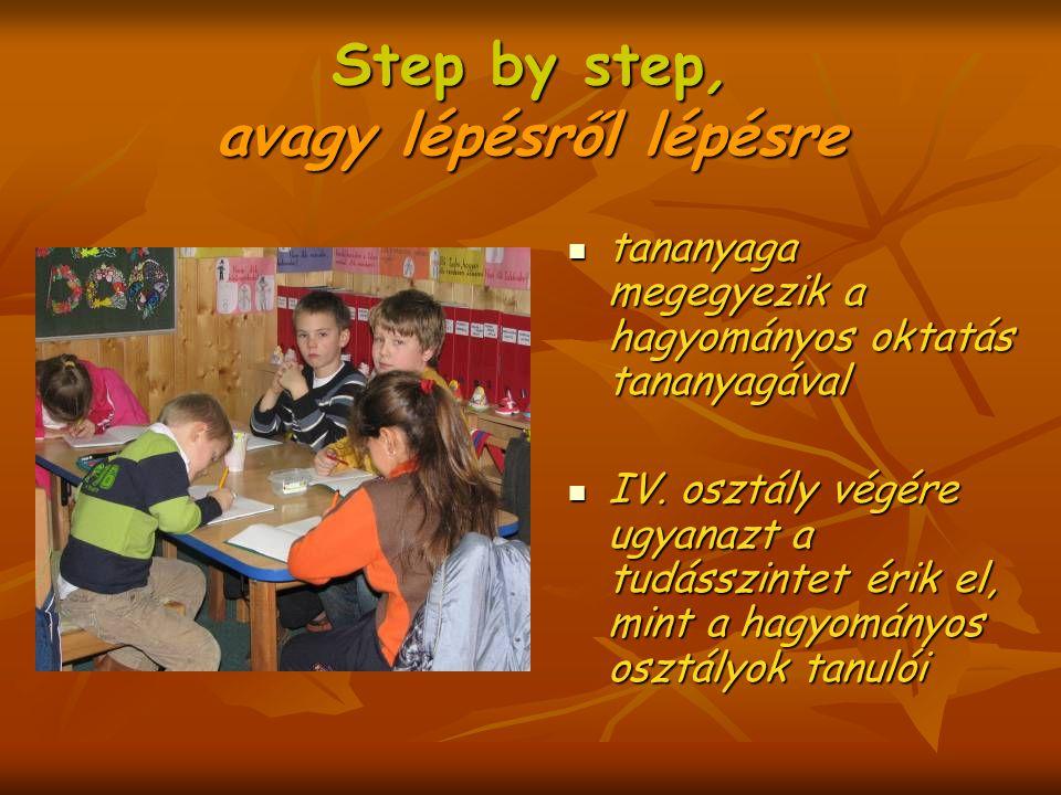 Step by step, avagy lépésről lépésre tananyaga megegyezik a hagyományos oktatás tananyagával tananyaga megegyezik a hagyományos oktatás tananyagával IV.