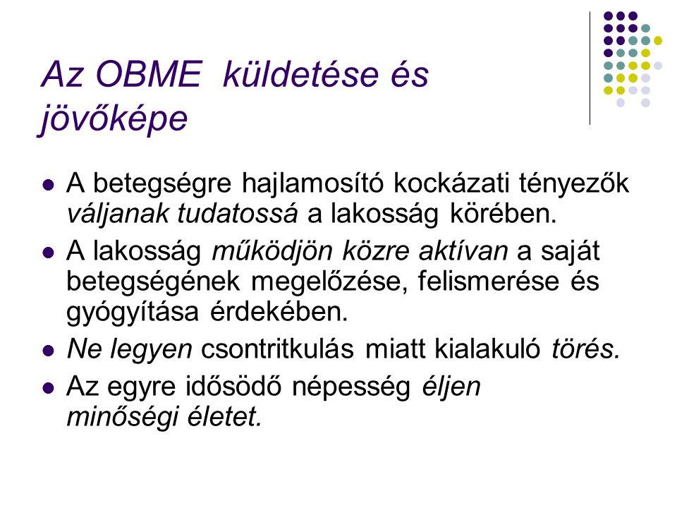 Az OBME küldetése és jövőképe A betegségre hajlamosító kockázati tényezők váljanak tudatossá a lakosság körében.
