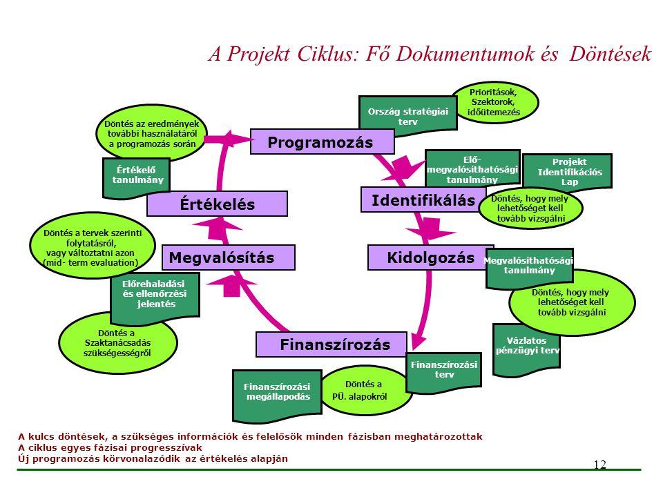 12 Vázlatos pénzügyi terv Döntés a Szaktanácsadás szükségességről Döntés az eredmények további használatáról a programozás során Prioritások, Szektoro