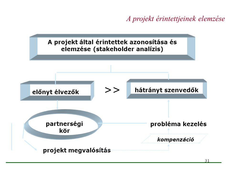 31 A projekt által érintettek azonosítása és elemzése (stakeholder analízis) hátrányt szenvedők előnyt élvezők probléma kezelés partnerségi kör projek