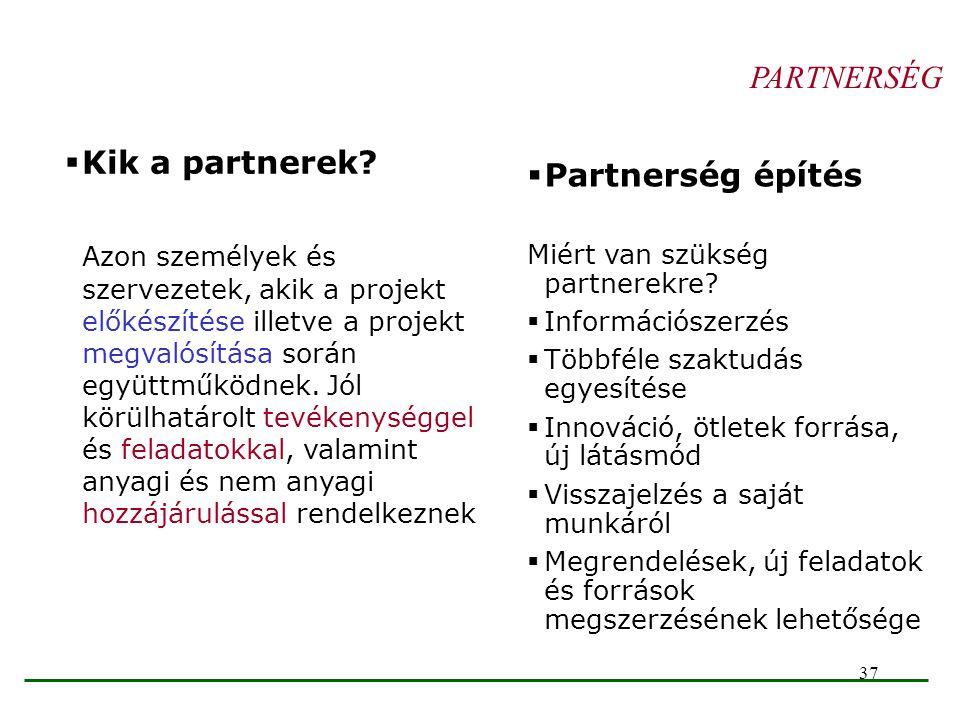 37 PARTNERSÉG  Kik a partnerek? Azon személyek és szervezetek, akik a projekt előkészítése illetve a projekt megvalósítása során együttműködnek. Jól