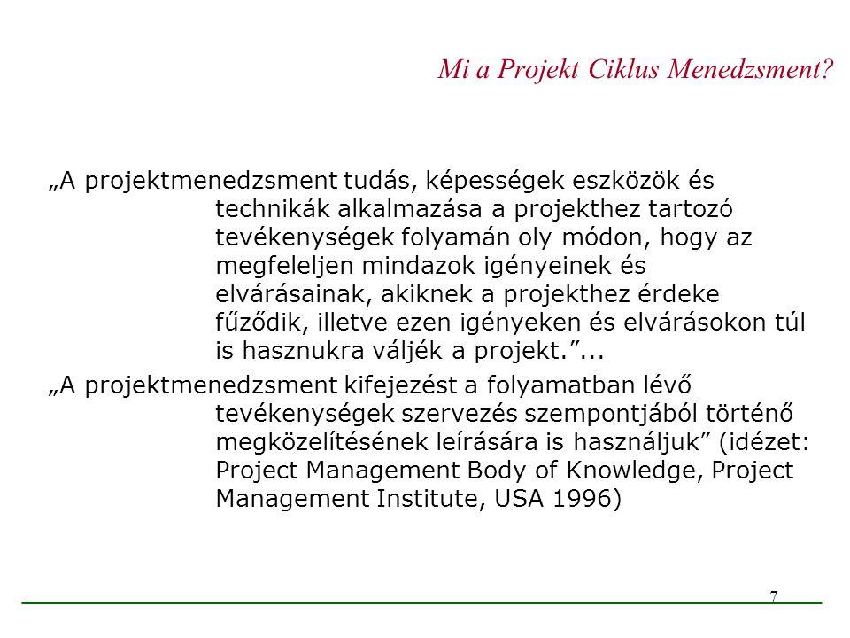 """7 Mi a Projekt Ciklus Menedzsment? """"A projektmenedzsment tudás, képességek eszközök és technikák alkalmazása a projekthez tartozó tevékenységek folyam"""