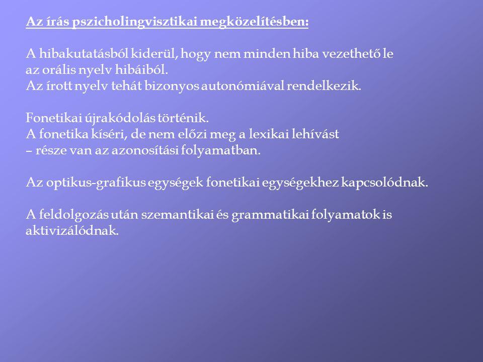 Az írás pszicholingvisztikai megközelítésben: A hibakutatásból kiderül, hogy nem minden hiba vezethető le az orális nyelv hibáiból.