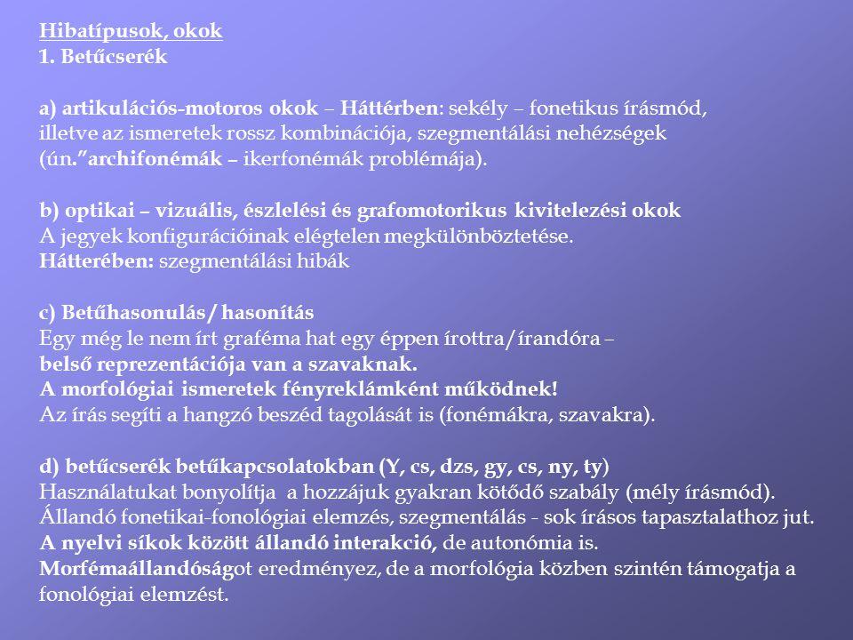Hibatípusok, okok 1.