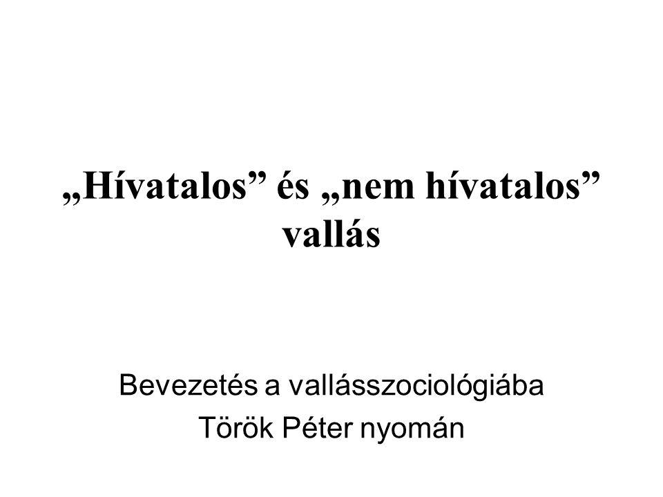 """""""Hívatalos és """"nem hívatalos vallás Bevezetés a vallásszociológiába Török Péter nyomán"""