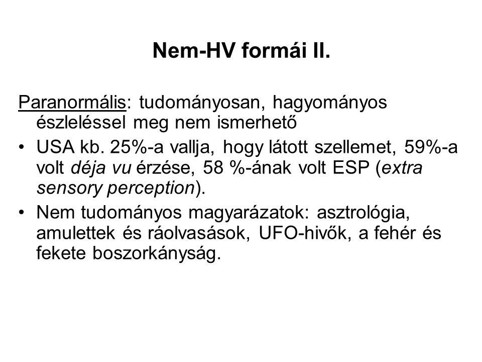 Nem-HV formái II. Paranormális: tudományosan, hagyományos észleléssel meg nem ismerhető USA kb.