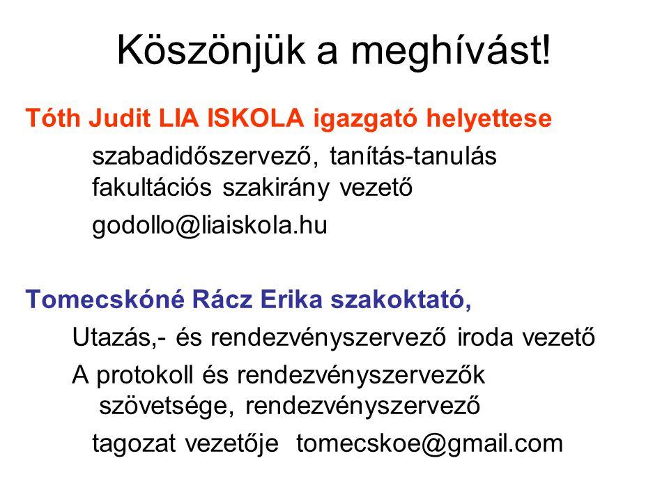 Köszönjük a meghívást! Tóth Judit LIA ISKOLA igazgató helyettese szabadidőszervező, tanítás-tanulás fakultációs szakirány vezető godollo@liaiskola.hu