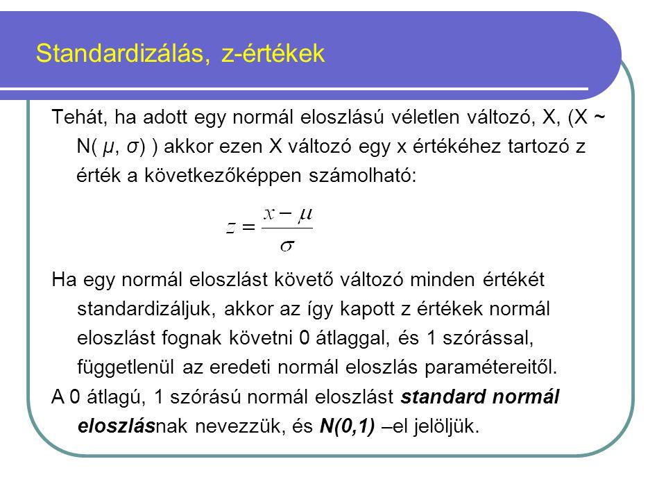 Standardizálás, z-értékek Tehát, ha adott egy normál eloszlású véletlen változó, X, (X ~ N( µ, σ) ) akkor ezen X változó egy x értékéhez tartozó z ért