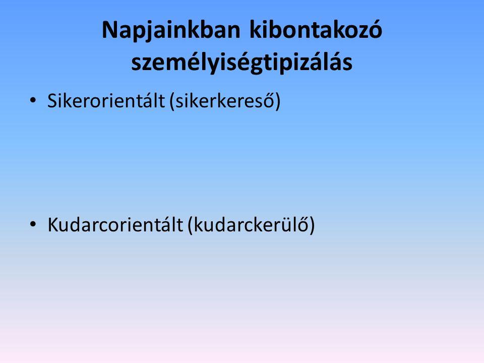 Napjainkban kibontakozó személyiségtipizálás Sikerorientált (sikerkereső) Kudarcorientált (kudarckerülő)