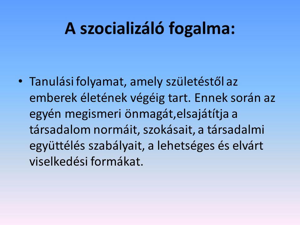 A szocializáló fogalma: Tanulási folyamat, amely születéstől az emberek életének végéig tart.