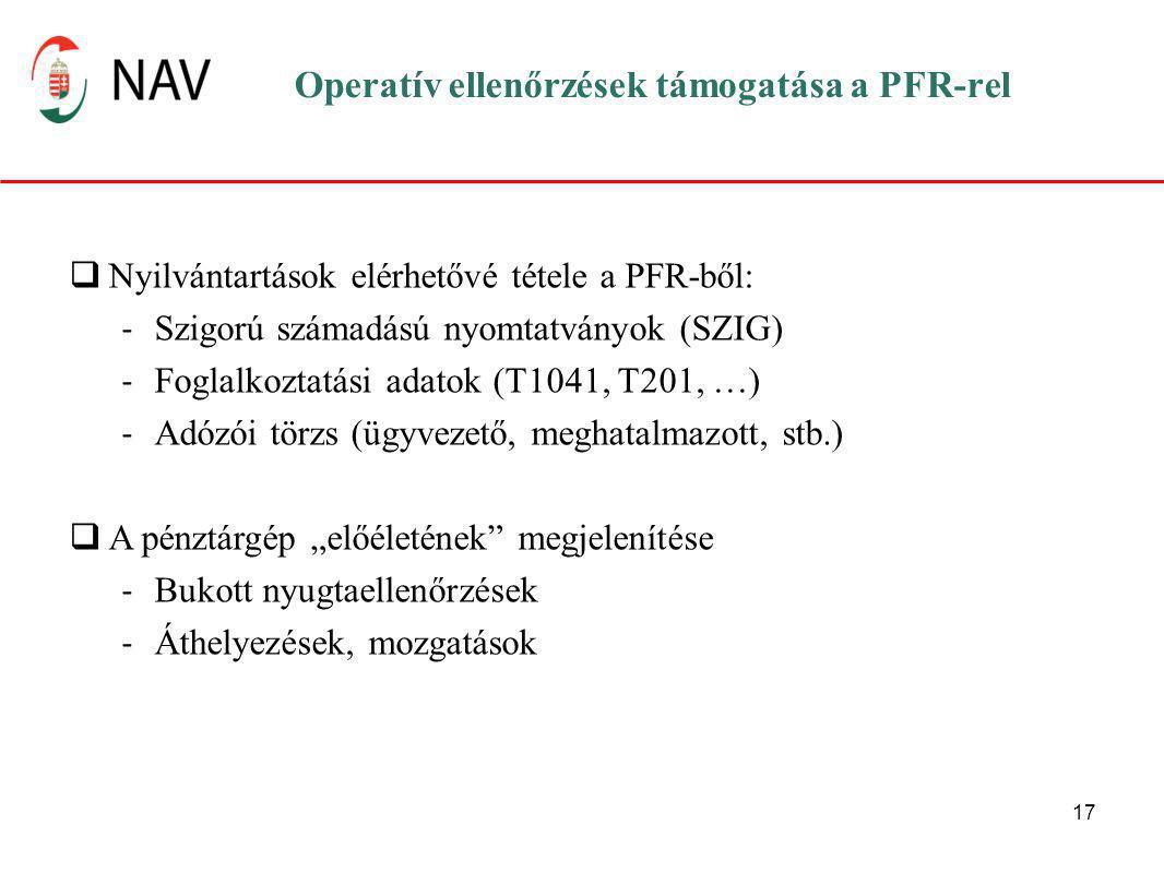 """17 Operatív ellenőrzések támogatása a PFR-rel  Nyilvántartások elérhetővé tétele a PFR-ből: - Szigorú számadású nyomtatványok (SZIG) - Foglalkoztatási adatok (T1041, T201, …) - Adózói törzs (ügyvezető, meghatalmazott, stb.)  A pénztárgép """"előéletének megjelenítése - Bukott nyugtaellenőrzések - Áthelyezések, mozgatások"""