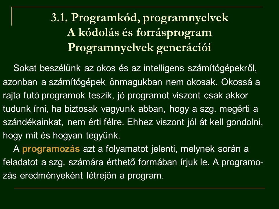 3.1. Programkód, programnyelvek A kódolás és forrásprogram Programnyelvek generációi Sokat beszélünk az okos és az intelligens számítógépekről, azonba