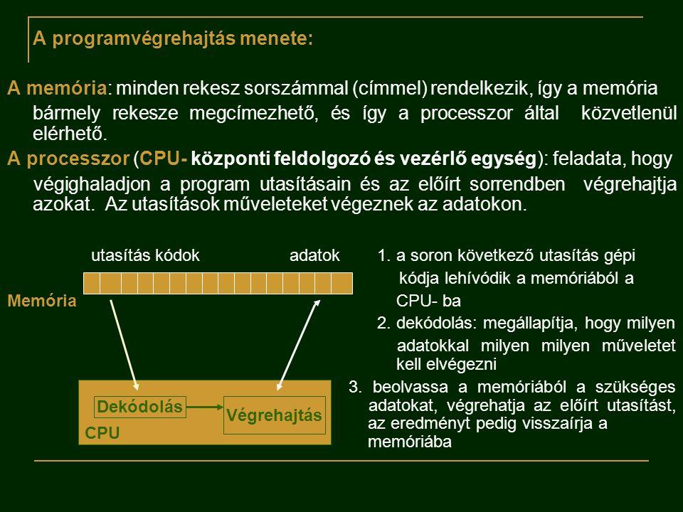 A programvégrehajtás menete: A memória: minden rekesz sorszámmal (címmel) rendelkezik, így a memória bármely rekesze megcímezhető, és így a processzor által közvetlenül elérhető.