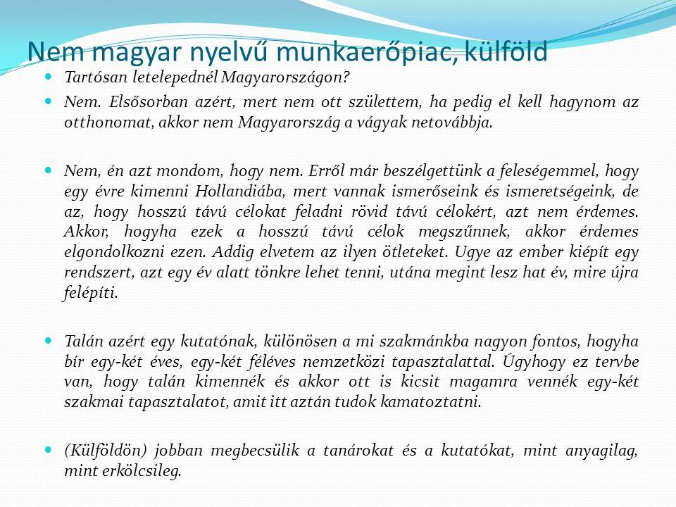 Nem magyar nyelvű munkaerőpiac, külföld Tartósan letelepednél Magyarországon? Nem. Elsősorban azért, mert nem ott születtem, ha pedig el kell hagynom