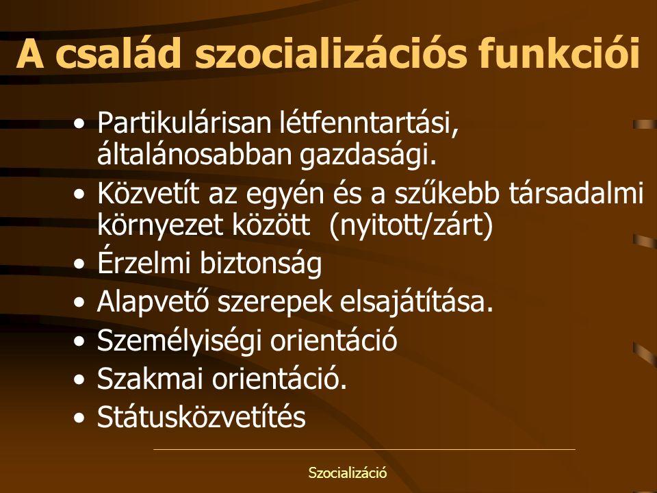 Szocializáció A család szocializációs funkciói Partikulárisan létfenntartási, általánosabban gazdasági. Közvetít az egyén és a szűkebb társadalmi körn