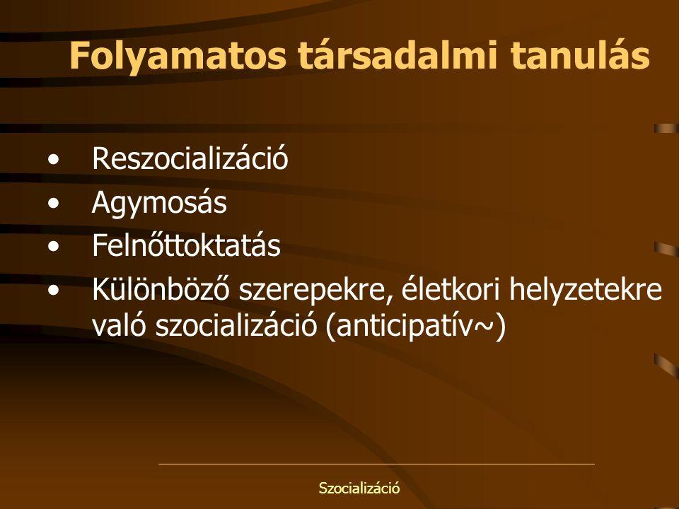 Szocializáció Folyamatos társadalmi tanulás Reszocializáció Agymosás Felnőttoktatás Különböző szerepekre, életkori helyzetekre való szocializáció (ant