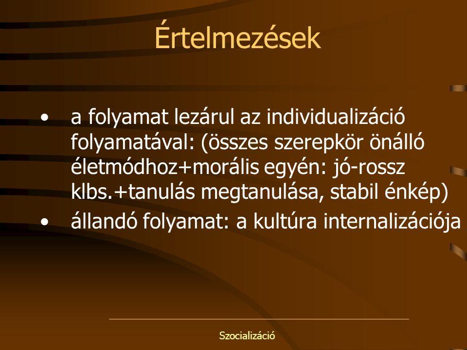 Szocializáció Internalizáció: T.PARSONS átvesszük és bensővé tesszük környezetünk –Tudását –Mintáit –Szabályait –Szempontjait