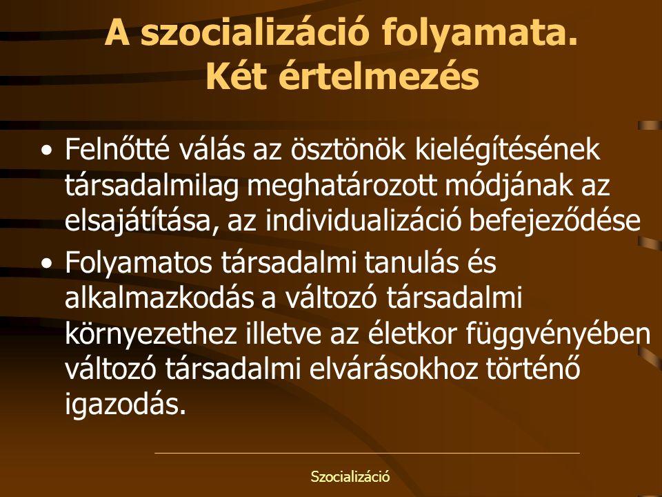 Szocializáció A szocializáció folyamata. Két értelmezés Felnőtté válás az ösztönök kielégítésének társadalmilag meghatározott módjának az elsajátítása