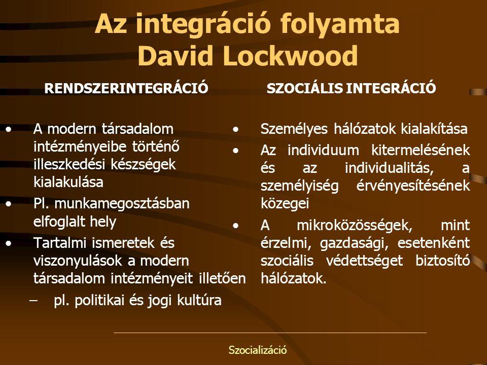 Szocializáció Az integráció folyamta David Lockwood RENDSZERINTEGRÁCIÓ A modern társadalom intézményeibe történő illeszkedési készségek kialakulása Pl