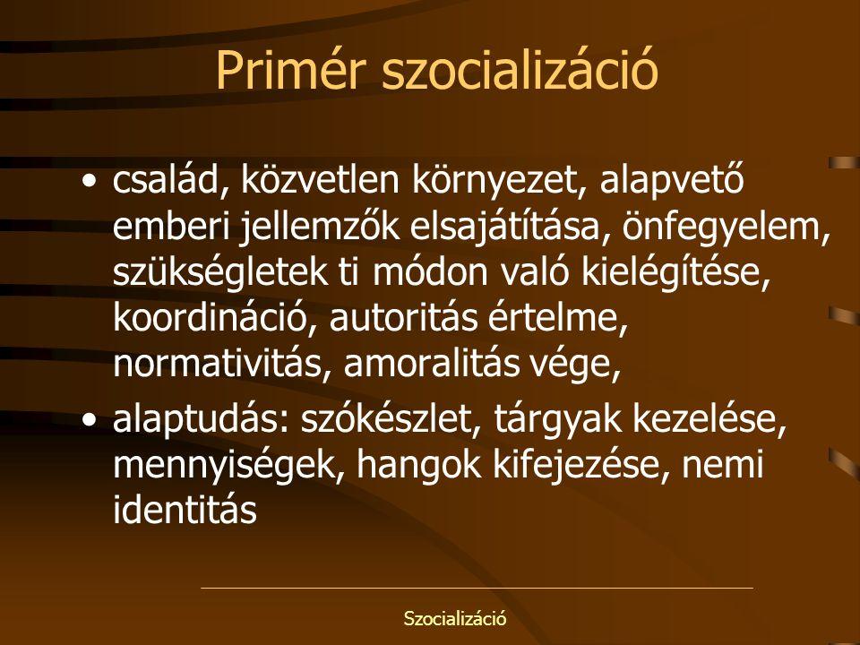 Szocializáció Szekundér szocializáció iskola, kortárscsoport, személytelenebb kapcsolatok, személyiség kialakulása, közösségi alkalmazkodás megtanulása, szerep, státus, pozíció, hierarchia, verseny, közösségi integráció