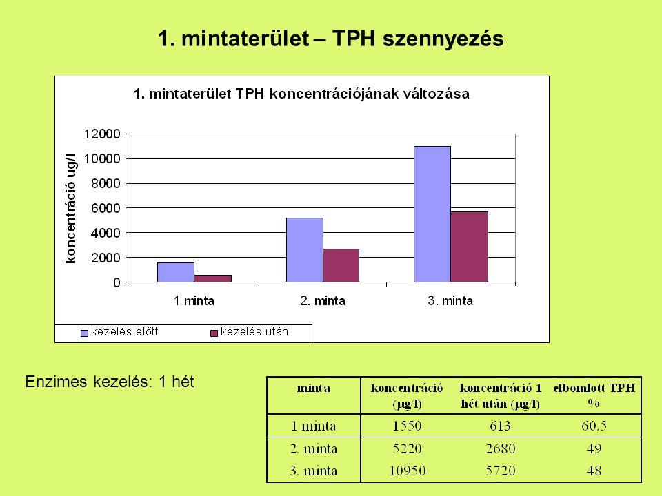 1. mintaterület – TPH szennyezés Enzimes kezelés: 1 hét