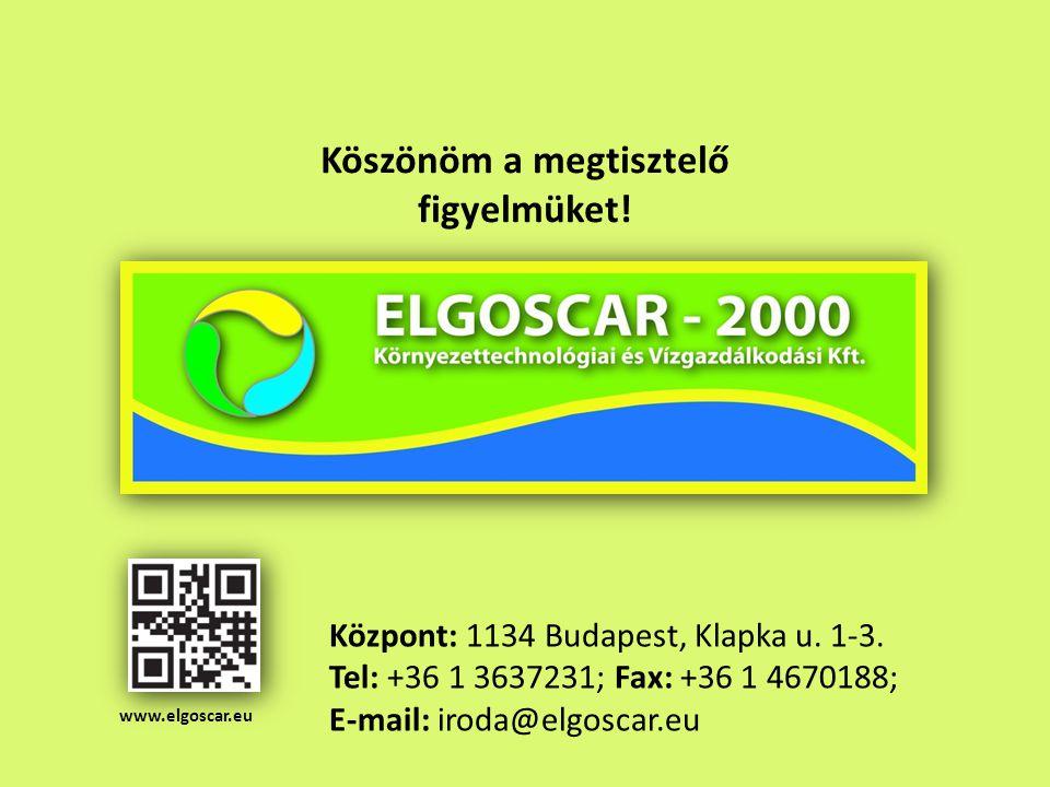 www.elgoscar.eu Központ: 1134 Budapest, Klapka u. 1-3. Tel: +36 1 3637231; Fax: +36 1 4670188; E-mail: iroda@elgoscar.eu Köszönöm a megtisztelő figyel