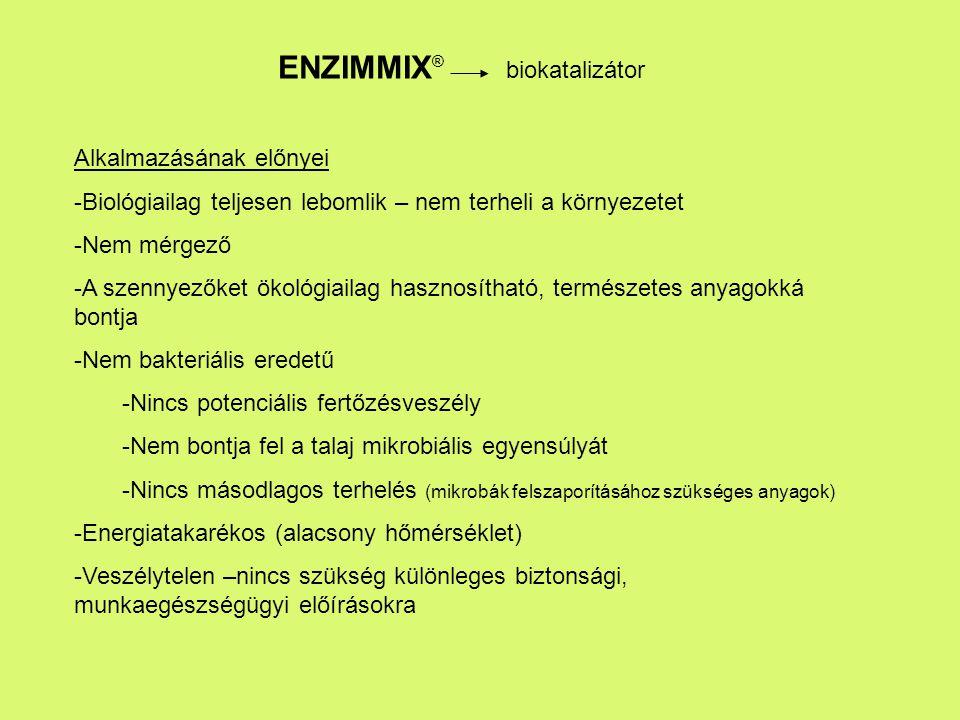 ENZIMMIX ® biokatalizátor Alkalmazásának előnyei -Biológiailag teljesen lebomlik – nem terheli a környezetet -Nem mérgező -A szennyezőket ökológiailag hasznosítható, természetes anyagokká bontja -Nem bakteriális eredetű -Nincs potenciális fertőzésveszély -Nem bontja fel a talaj mikrobiális egyensúlyát -Nincs másodlagos terhelés (mikrobák felszaporításához szükséges anyagok) -Energiatakarékos (alacsony hőmérséklet) -Veszélytelen –nincs szükség különleges biztonsági, munkaegészségügyi előírásokra