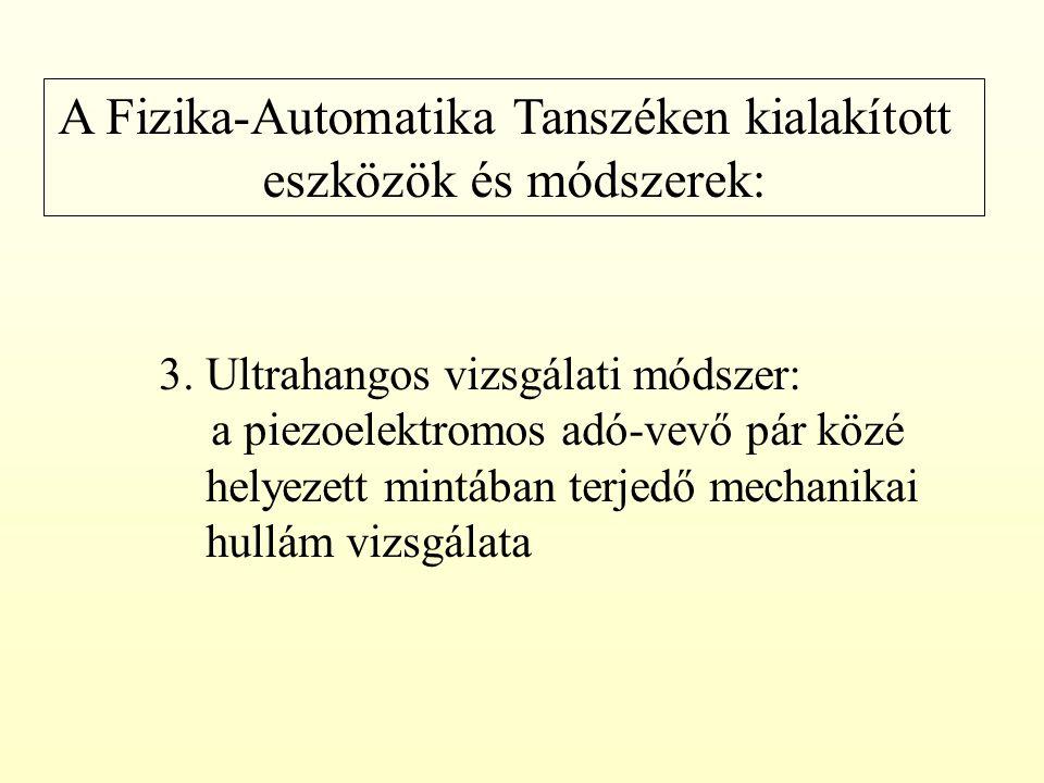 A Fizika-Automatika Tanszéken kialakított eszközök és módszerek: 3. Ultrahangos vizsgálati módszer: a piezoelektromos adó-vevő pár közé helyezett mint