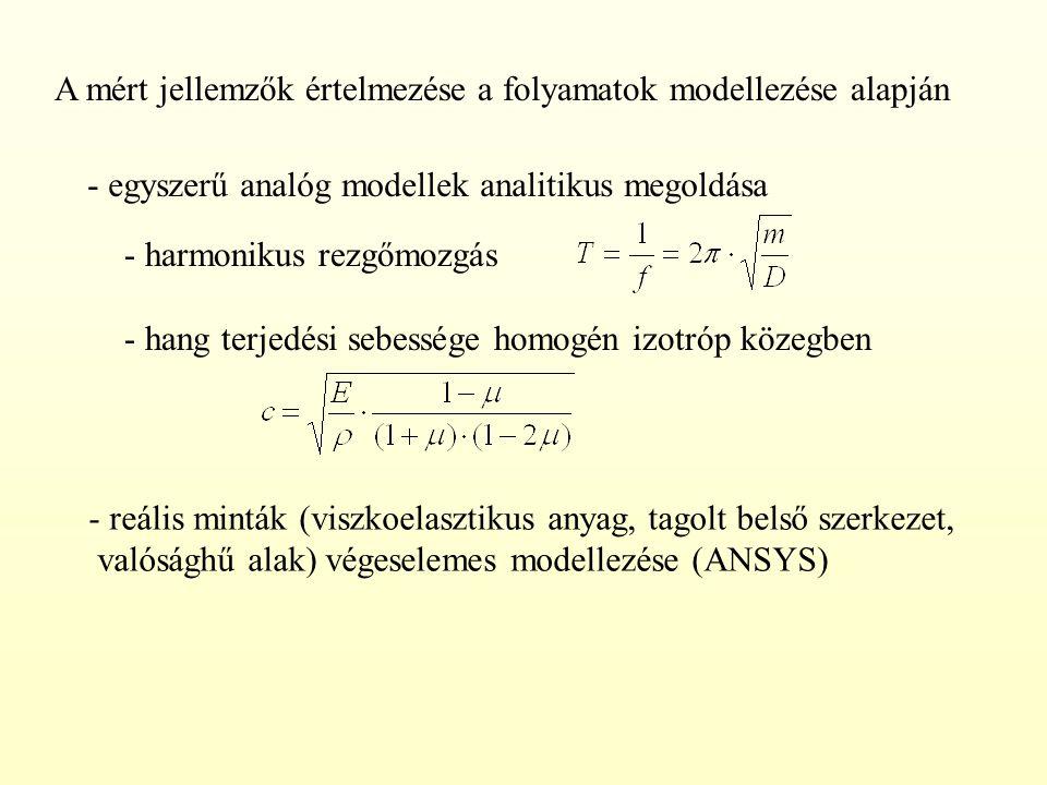 A mért jellemzők értelmezése a folyamatok modellezése alapján - egyszerű analóg modellek analitikus megoldása - reális minták (viszkoelasztikus anyag,