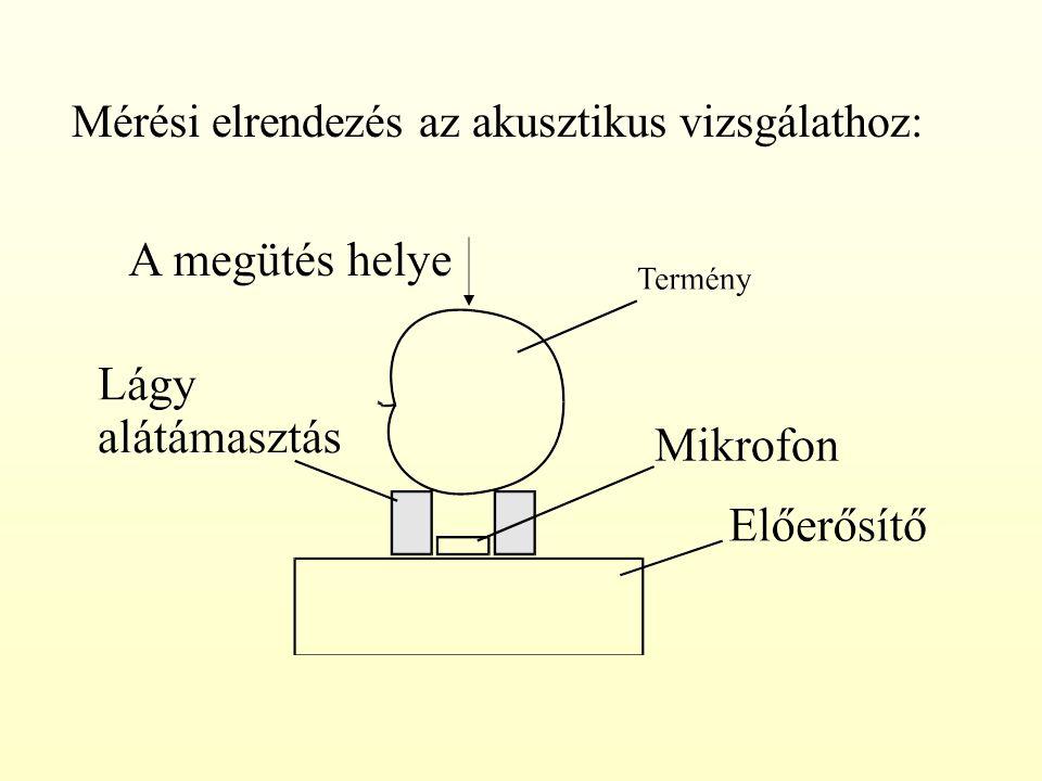 Mérési elrendezés az akusztikus vizsgálathoz:
