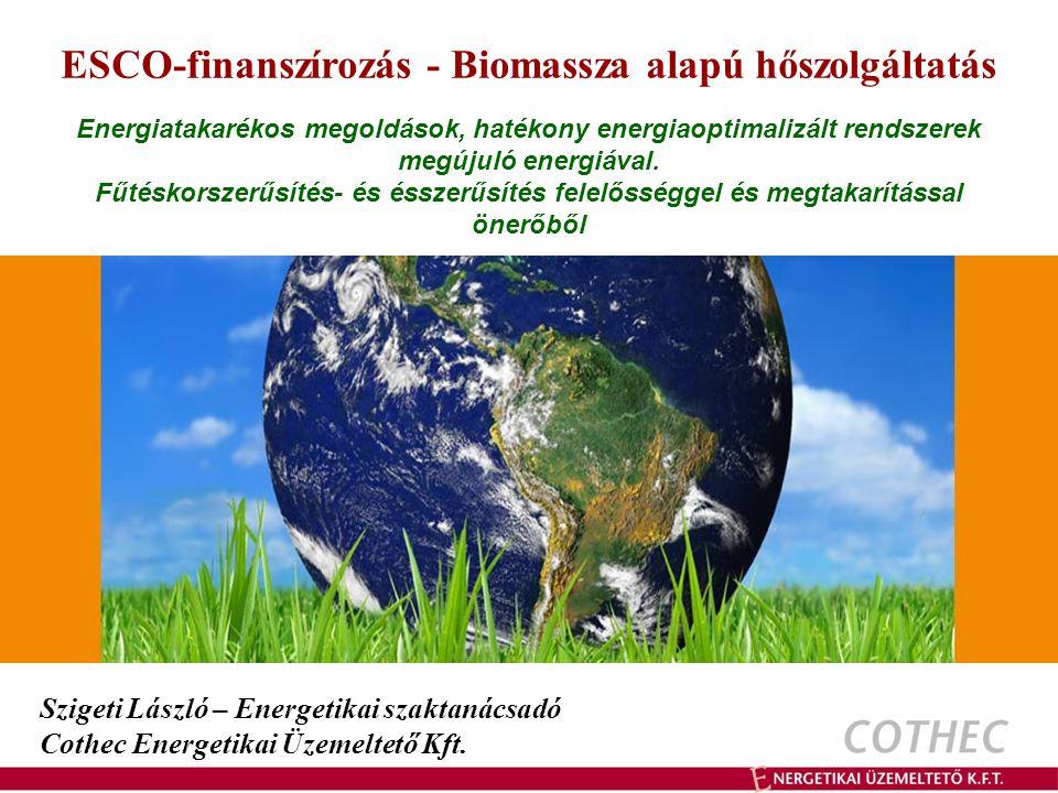 Cothec – Biotech Biomassza alapú hőszolgáltatás Faapríték tüzelésű rendszerek Nagyobb intézmények esetében, 200 kW teljesítmény igény felett Előnyei: jól illeszthető a meglévő szekunder rendszerekhez tüzelőanyag árfekvése alacsony tüzelőanyag minőségre kevésbe érzékeny Jellemzői: fajlagos beruházási költsége közepes-magas tüzelőanyag tárolás helyigénye nagy tüzelőanyag gépi mozgatást igényel